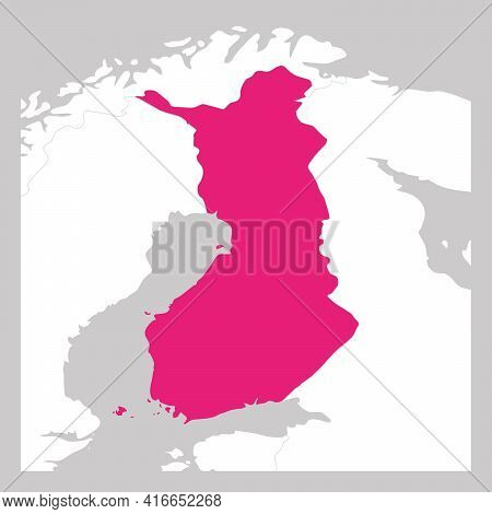 Map Of Finland Pink Highlighted With Neighbor Countries.
