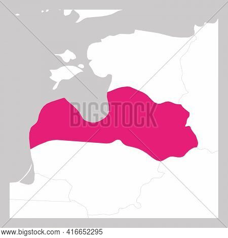 Map Of Latvia Pink Highlighted With Neighbor Countries.