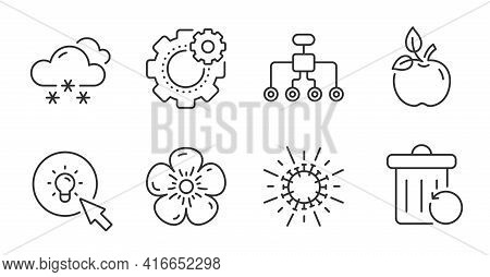 Restructuring, Energy And Coronavirus Line Icons Set. Cogwheel, Eco Food And Snow Weather Signs. Rec