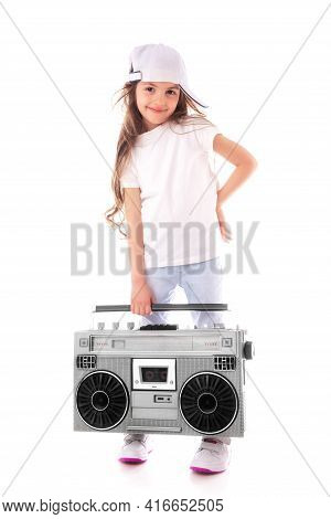 Young Hip Hop Girl Listening Music On Boombox Retro Radio, Ghetto Blaster, Isolated On White Backgro