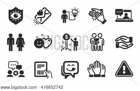 Smile, Eye Protection And Income Money Icons Simple Set. Business Idea, Engineering Team And Love Le