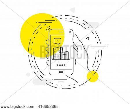 Buildings Line Icon. Mobile Phone Vector Button. City Architecture Sign. Skyscraper Building Symbol.