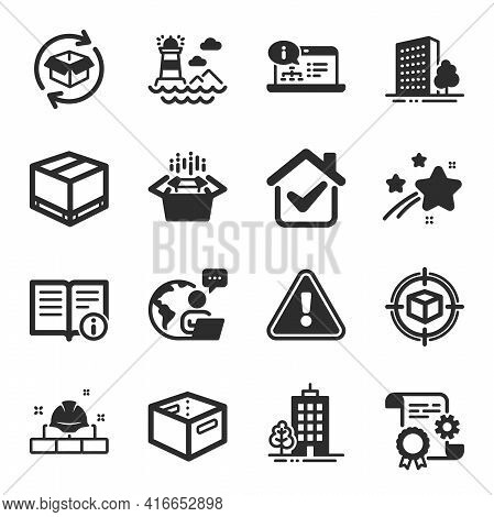 Set Of Industrial Icons, Such As Return Parcel, Lighthouse, Skyscraper Buildings Symbols. Parcel Tra