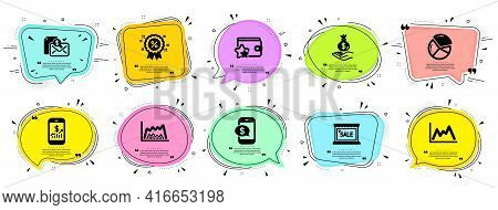Finance Icons Set. Speech Bubble Offer Banners. Vector Coupon Badge. Included Icon As Pie Chart, Dia
