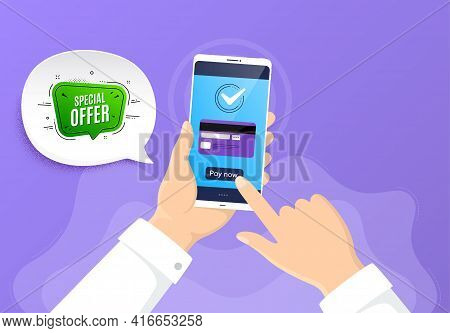 Special Offer Banner. Pay By Credit Card From Phone. Discount Sticker Shape. Sale Coupon Bubble Icon