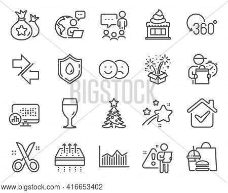 Business Icons Set. Included Icon As Loyalty Points, Like, Christmas Tree Signs. Synchronize, Beer G