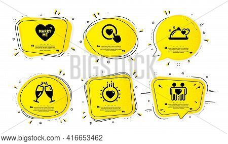 Champagne Glasses, Romantic Dinner And Marry Me Icons Simple Set. Yellow Speech Bubbles With Dotwork