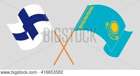 Crossed And Waving Flags Of Kazakhstan And Finlandcrossed And Waving Flags Of Kazakhstan And Finland