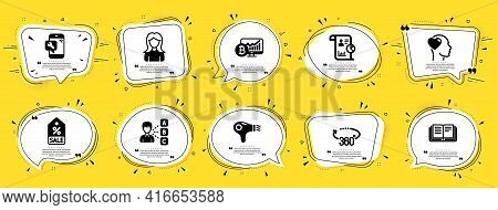 Business Icons Set. Speech Bubble Offer Banners. Yellow Coupon Badge. Included Icon As Sale Coupon,