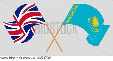 Crossed And Waving Flags Of Kazakhstan And The Uk