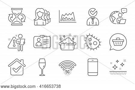 Trade Chart, Smartphone And Women Headhunting Line Icons Set. Vacancy, 5g Wifi And Clean Skin Signs.