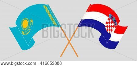 Crossed And Waving Flags Of Kazakhstan And Croatia