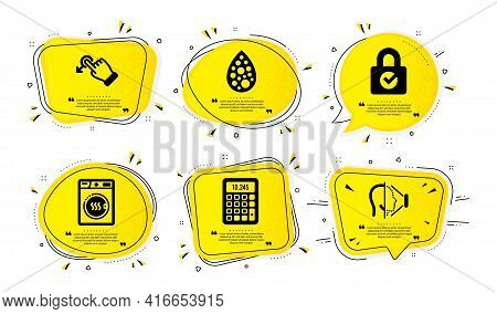 Password Encryption, Artificial Colors And Calculator Icons Simple Set. Yellow Speech Bubbles With D
