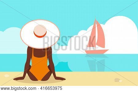 Summer Holiday Vector Illustration In Flat Design Young Tan Woman In White Hat Is Sitting On The Sea