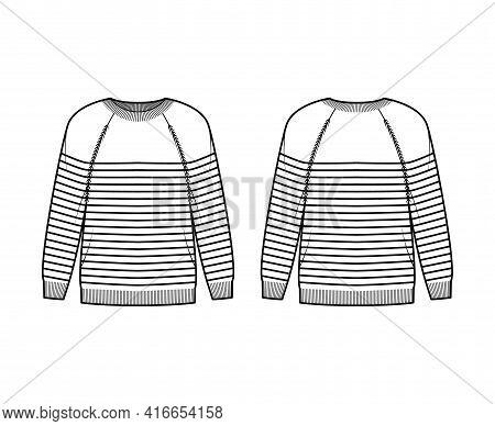 Sailor Sweater Striped Pullover Technical Fashion Illustration With Rib Crew Neck, Long Raglan Sleev