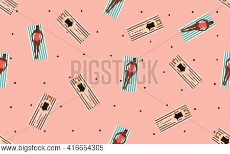 Summertime Beach Vector Illustration In Flat Design Seamless Pattern With Tan Girls In Swimsuits On