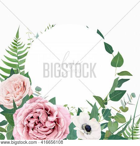 Stylish Vector Floral Watercolor Wedding Invite, Greeting Card, Save The Date Card Design Template.