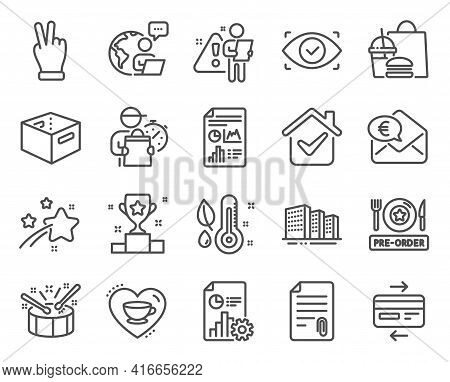 Business Icons Set. Included Icon As Attachment, Drums, Euro Money Signs. Winner Cup, Office Box, Cr