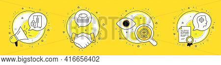 Vip Award, Mattress And Refrigerator Line Icons Set. Megaphone, Licence And Deal Vector Icons. Recru