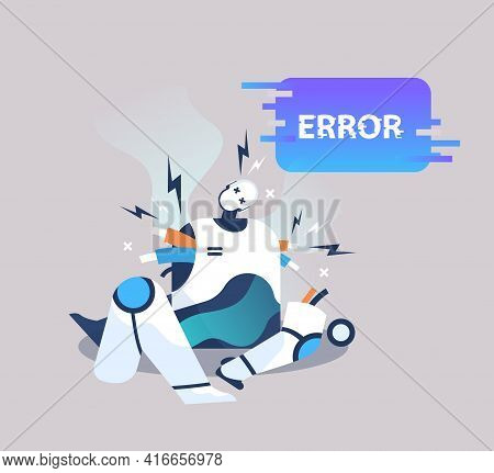 Broken Robot Showing Error Artificial Intelligence Failures Overloaded Concept Full Length