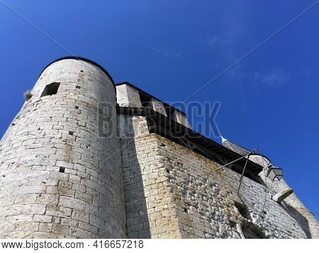Looking Up At Caesar Tower Castle (tour De Caesar) In The Medieval Village Of Provins, France