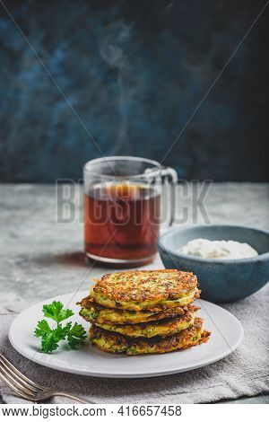 Zucchini Parmesan Pancakes With Dip And Parsley