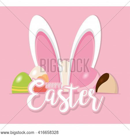 Bunny Ears Wit An Easter Eggs. Happy Easter Poster - Vector Illustration