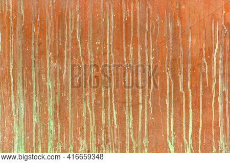 Sloppy Rusty Metal Background With Green Oxidized Smudges. Grunge Texture Of Greenery, Oxidized Line