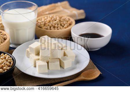 Sliced Tofu, Soybean Seeds, Soy Milk And Soy Sauce. Healthy Vegan Food