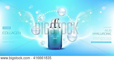 Hyaluronic Acid Collagen Cosmetic Bottle Mockup. Beauty Moisturize Skin Cosmetics Product Tube On Bl