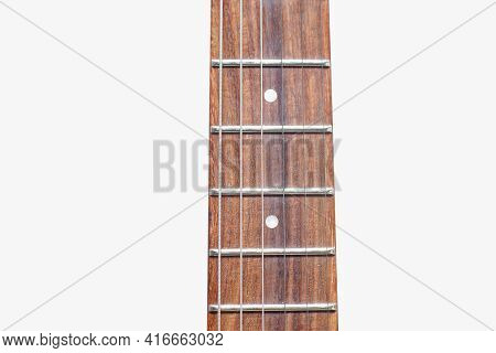 Neck Of Electric Guitar With Guitar Fretboard. Part Of Body Electric Guitar With Strings