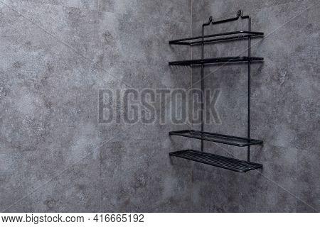Empty Black Shelf In The Bathroom. Bath Shelf For Bathroom Accessories. Modern Bathroom Interior