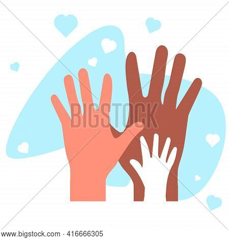 A Multi-ethnic Family. Family Members With Different Skin Tones. Gender Family. Hands Of Different C