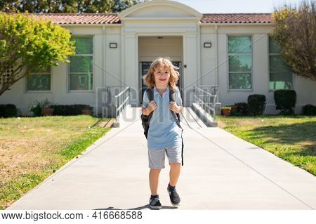 Back To School. Cute Kid With Backpack Running And Going To School. Knowledge Day. Go To School