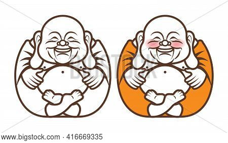 Cute Chubby Happy The Laughing Buddha Character With Big Belly Brings Happiness And Wealth. Religion