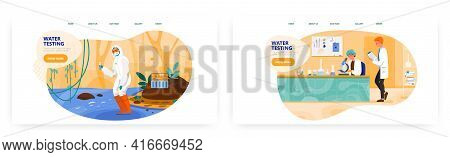 Water Testing Landing Page Design, Website Banner Vector Template Set. Water Quality, Purity Test An