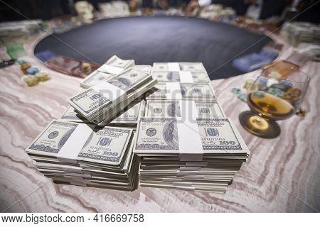 American Dollars Cash Money. One Hundred Dollar Banknotes. Stack Of One Hundred Dollar Bills .shallo