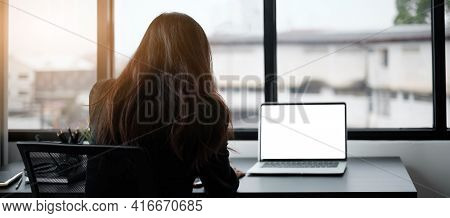 Video Conference, Online Meeting Video Call, Portrait Of Business Woman Looking At Laptop Computer S