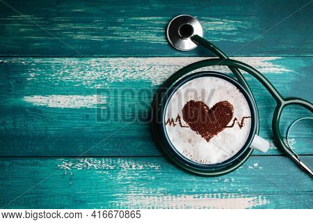 World Health Day. Health Care For Coffee Lover And Heart Disease Concept. Latte Art By Cinnamon On T