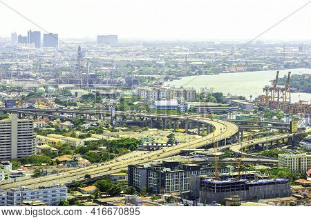 Bangkok, Thailand - 8 March 2019: Bird\'s Eye View To Show The Beautiful Sky And Heavy Traffic Above