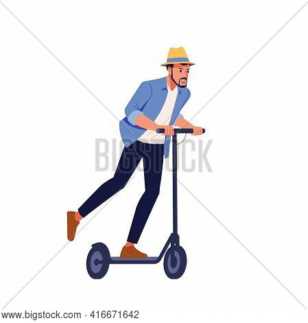 Young Businessman Riding An Electric Scooter On A Business Meeting. Ecological Transportation Concep
