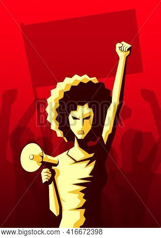 Angry Woman With Afro Hairstyle And Loudspeaker Raised Up Her Fist With Crowd Of People With Flag An