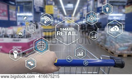 Smart Retail 2021 And Omni Channel Concept. Shopping Concept 2021