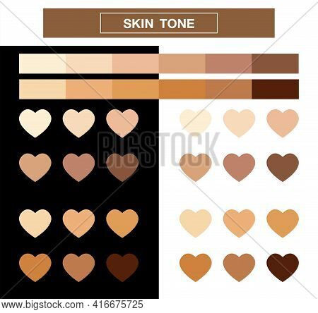 Heart Skin Tone Index Color, Tones Palette Swatches, Vector Illustration.