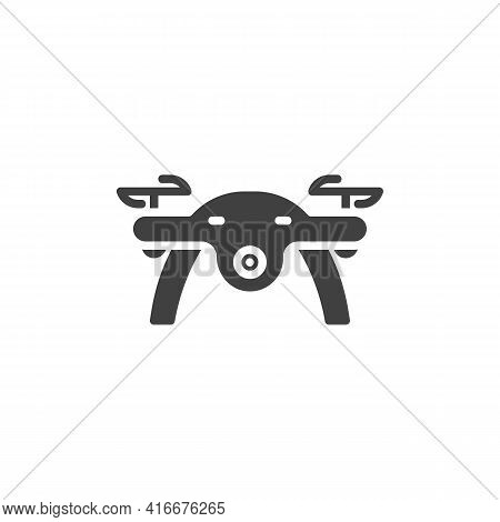 Drone Quadcopter Vector Icon. Filled Flat Sign For Mobile Concept And Web Design. Drone Front View G