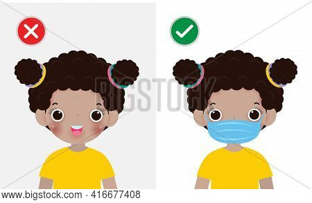 Kids Mark Protective No Entry Without Face Mask Or Wear A Mask Icon, Yes No Sign With Children Weari