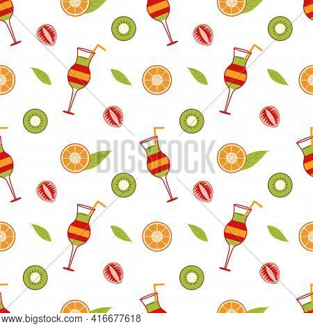 Background With Mix Cocktail And Slices Of Orange, Strawberry, Kiwi And A Leaf On A White Background
