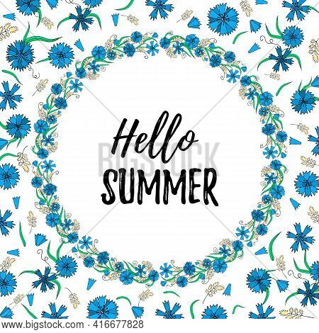 Greeting Card With Cornflowers And Hello Summer Slogan