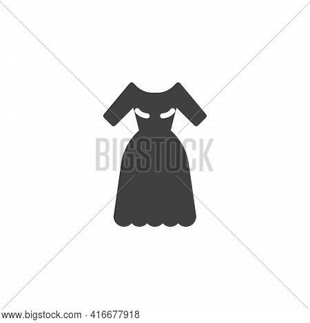 Wedding Dress Vector Icon. Filled Flat Sign For Mobile Concept And Web Design. Gown Dress Glyph Icon