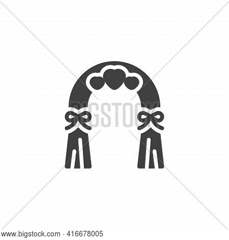 Wedding Arch With Hearts Vector Icon. Filled Flat Sign For Mobile Concept And Web Design. Wedding Ce